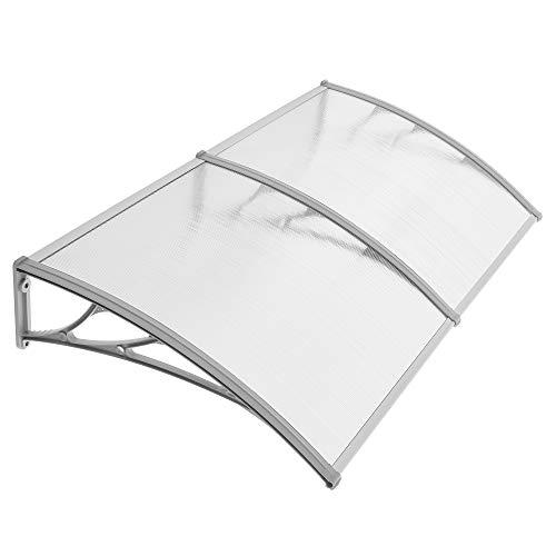 SONGMICS Vordach, 195 x 96 cm, Überdachung, 5 mm dicke Polycarbonatscheiben, Haustürvordach, Pultbogenvordach, Regenschutz, transparent-grau GVH191