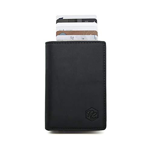 Kreditkartenetui Geldbörse aus hochwertigem Sattelleder mit Geldscheinfach - Komplettset (inkl. Gummiband + Geschenkbox)