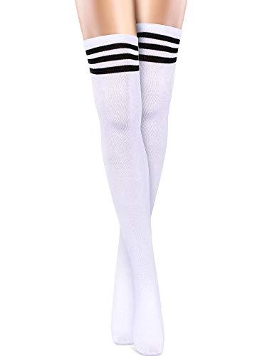 SATINIOR Strumpfhose mit Drei Streifen Über Kniehohe Socken Frauen Baumwolle Lange Strümpfe (Weiß)