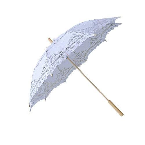 Lace Parasol Umbrella Wedding White Cotton Fashion Wooden Handle Decoration Umbrella