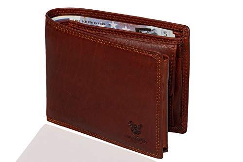 MATADOR® Geldbörse Herren Echt-Leder Braun TÜV Geprüfter RFID & NFC Schutz Portemonnaie für Männer Querformat Hochwertige Brieftasche mit Münzfach