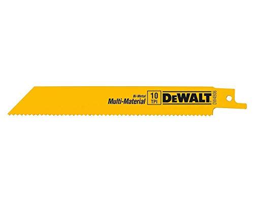 DEWALT Reciprocating Saw Blades, Straight Back, 6-Inch, 10 TPI, 5-Pack (DW4806)