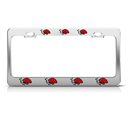 Speedy Pros Metal License Plate Frame Ladybug Lady Bug Style B Car Accessories Chrome 2 Holes