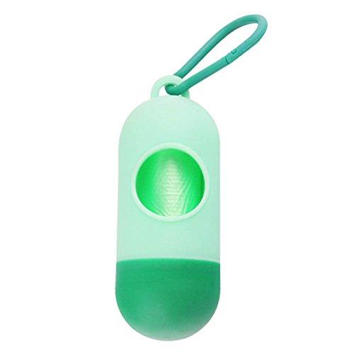 Tabanlly Pet Poop Bag Dispenser, draagbare baby luiers weggegooid zakken hond Poop Bag Dispenser Refill zakken, 3.14 x 1.57 x 1.57in, Lichtgroen