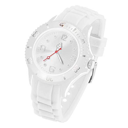 Taffstyle Deutschland Damen Uhr Analog Quarz mit Silikon-Armband Sport Farbige Sportuhr Bunte Armbanduhr Herren Kinder 39mm Weiß
