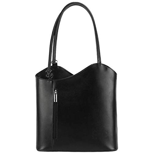 FLORENCE LEATHER MARKET Borsa donna nera a spalla in pelle 28x9x29 cm - Cloe - Made in Italy