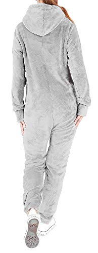 Finchgirl F2001 Damen Jumpsuit Teddy Fleece Hellgrau - 2