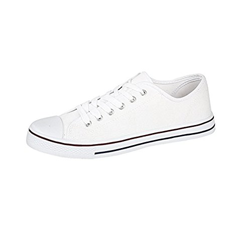 Mens Canvas Baseball Shoes in 4 Colours (8, White)