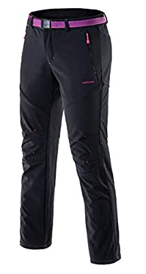 Tofern Womens Winter Warm Breathable Waterproof Windproof Softshell Pants Outdoor Hiking Climbing Camping Cycling Trousers, Black-New US S
