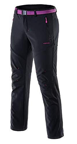Tofern Damen Mädchen Softshellhose Activate Wanderhose Outdoorhose Multiaktivitäten ,Winter-schwarz,Euro XL