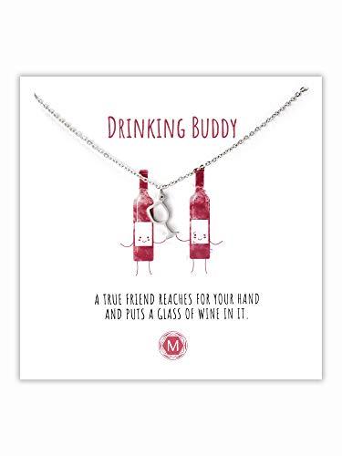 MURANDUM Geschenk Kette mit Weinglas | Drinking Buddy Necklace | Damenhalskette mit Weinglas Anhänger inklusive Geschenkkarte | Länge verstellbar (Silber)