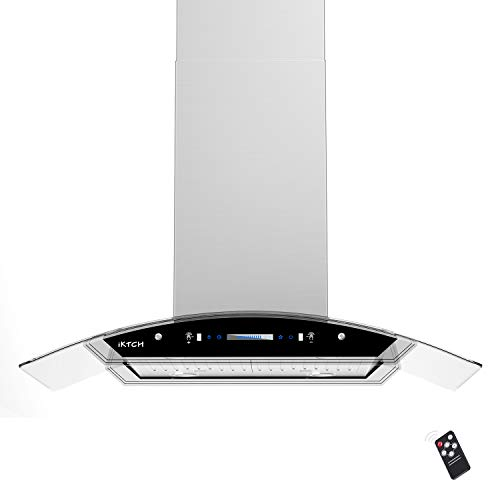 IKTCH 36 inches Island Mount Range Hood, 900 CFM Stainless Steel Kitchen Chimney Vent with Gesture Sensing & Touch Control Switch Panel, 4 Pcs Adjustable Lights, 2 Pcs Baffle Filter IKIS01-36
