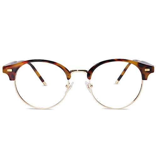 SOJOS Round Clear Glasses for Women Blue Light Blocking Computer Non Prescription Anti Eyestrain Half Frame SJ5079 with Tortoise Frame/Gold Rim/Anti-Blue Light Lens