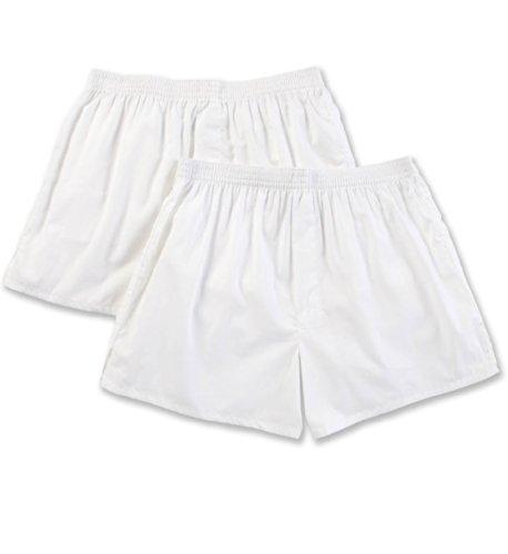 PEROFIL Gange Bipack (2 Pezzi) Boxer Uomo in Tela di Puro Cotone Intimo Uomo Vendita Online| American Boxer 100% Cotton/Tinta Unita, Riga, Quadro e Microfantasie. (Bianco (Unito), 6-XL)