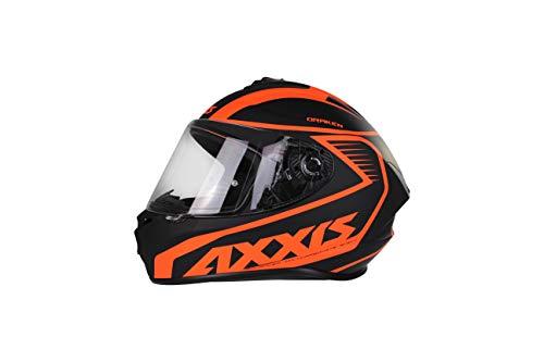 AXXIS Casco Moto Integral FF112 DRAKEN Mets D4 Negro/Naranja Fluor Mate Talla M (57-58 cms) Homologado