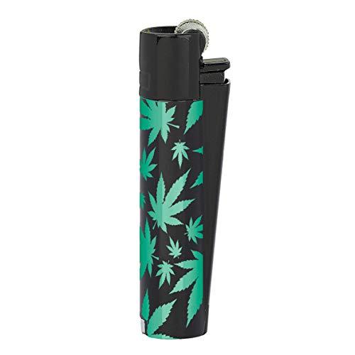 HIBRON Clipper 1 Encendedor Mechero Clásico Largo Metal Green Leaves Verde-Negro Diseño Hoja de Marihuana Cannabis Y 1 Llavero Gratis
