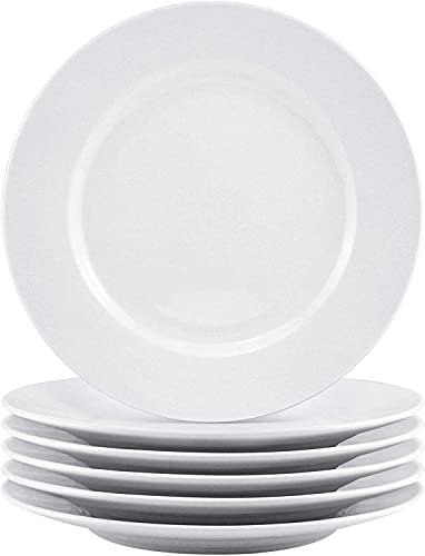 Bestone 6 Piece 8 Inch Porcelain White Dinner Plates Dessert Serving Plates, Dinnerware Sets, Classic Round with Wide Rim, Dishwasher, Microwave, Freezer, Oven Safe, BPA-Free for Everyday Use