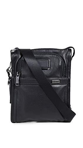 TUMI - Alpha 3 Small Pocket Crossbody Bag - Leather Satchel for Men and Women - Black