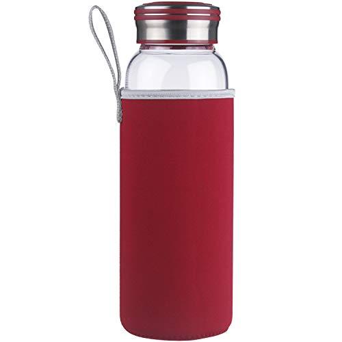 Cleesmil Bottiglia di Acqua di Vetro, Borraccia in Vetro Senza BPA 1 Litro / 1 L (Rosso)