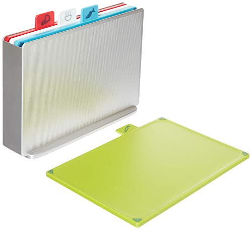 Joseph Joseph (ジョセフジョセフ) 付箋で簡単使い分け 素材別の衛生的なまな板セット インデックス アドバンス2.0 レギュラー(30.5x8.5x23.5cm) シルバー 60131