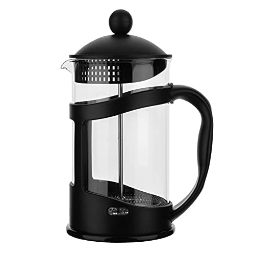 34 Oz French Coffee Press - Espresso and Tea Maker with Triple Filters, No Coffee Grounds, Stainless Steel Plunger and Heat Resistant Borosilicate Glass - Black