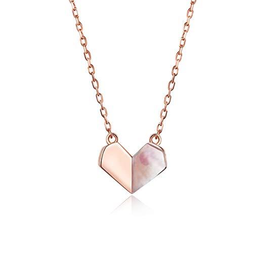 Folding Heart Shell Choker Ketting voor Vrouwen 925 Sterling Zilver Korte Ketting Halsketting Rose Goud kleur Sieraden