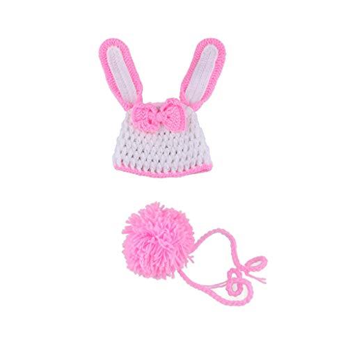 JOYKK Accesorios de fotografía para recién Nacidos Trajes de bebés Ropa de Sombrero de Punto de Ganchillo de Conejo de bebé - A #