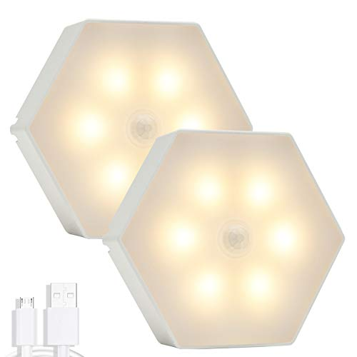 Motion Sensor Light Indoor, Night Light, Under Cabinet Light, DENGALA Rechargeable LED Closet Lights, Suitable for Hallway, Stair, Bathroom, Bedroom, Kitchen, Cabinet-Warm White 2 Pack