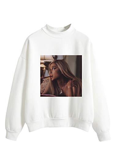 Ariana Grande Felpa per Donna,Trend Singer Ariana Grande Thank u, Next Felpa Pullover Tinta Unita Stampa di Lettere Maglione Hoodie Manica Lunga per Ragazza Donna (Bianco,S)