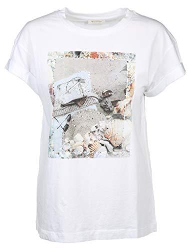 rich&royal Damen with Print T-Shirt, Weiß (White 100), X-Small (Herstellergröße: XS)