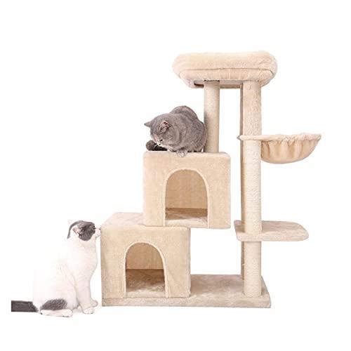 LANGTAOMY Árbol para Gatos Cat Tree Multi-Nivel Deluxe Cat Tower con una Percha de Peluche Extra Grande y espaciosa Hamaca y Posterior de rasguño Cubierto de sisal Grueso Árbol
