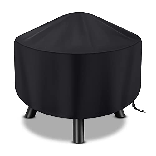 Fire Pit Cover Round for Fire Pit 22 Inch - 34 Inch Heavy Duty Outdoor Firepit Cover Full Coverage Patio Outdoor Fireplace Cover Fire Bowl Cover Waterproof, Dustproof and Anti UV