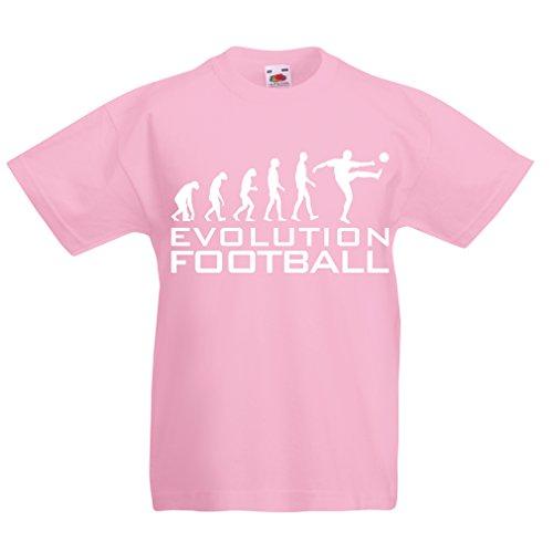 lepni.me Camiseta para Niño/Niña La evolución del fútbol - Camiseta de fanático del Equipo de fútbol de la Copa Mundial (5-6 Years Rosado Blanco)