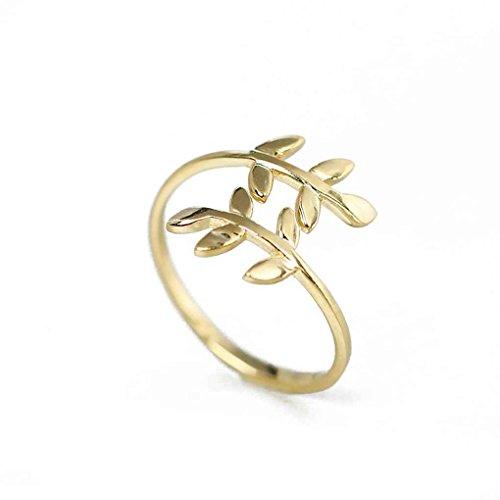 Deinbe Zink-Legierung Natur Olivenbaum AST Blatt Blätter Ring Frauen Schmuck One Size Gold