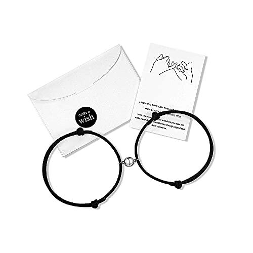 Wilacia Paar Armbänder, Magnetisches Couple Armband, Couple Bracelet Magnet Armband Partner, Freundschaftsarmband Paar Geschenke für Frauen Männer Freund Freundin