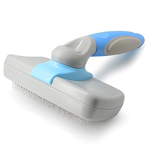 JIPOWER Self Cleaning Slicker Brush for Dogs and Cats, Pet Grooming Tool,Removes Undercoat,Shedding Mats and Tangled Hair,Dander,Dirt, Massages Particle,Improves Circulation