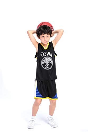 Basketball Trikot Anzüge für Kinder Männer und Frauen Basketball-Trainingsuniformen Warriors 35 Kevin Durant Trikots Geeignet für Kindersport Fitness,Black,L