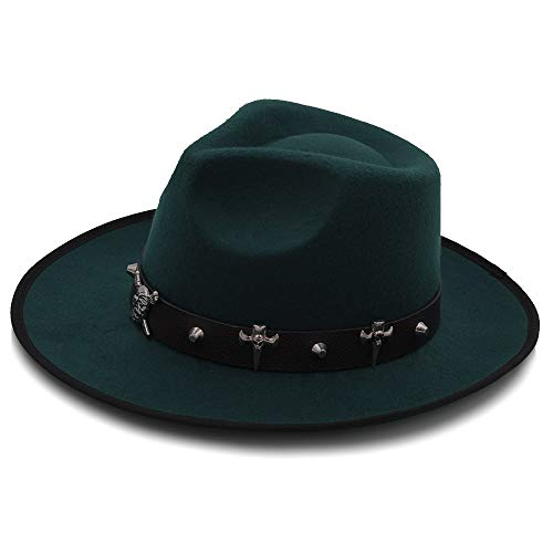 Duyani ala Ancha Otoño Moda Femenina Sombrero Superior Gorra de Jazz Sombrero de Invierno Fedora for Hombres Sombrero de Lana Moda Chapeau Femme Sombreros Negros (Color : Black, Size : 58CM)