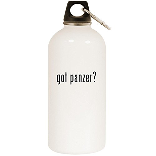 Molandra Products got Panzer? - White 20oz Stainless Steel Water Bottle with Carabiner