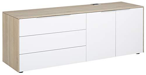 MAJA Möbel eDJUST Container, Holzwerkstoff, Eiche Sonoma Hochglanz Weiß, one Size