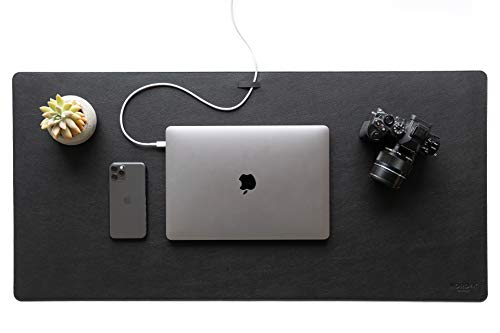 Nordik Leather Desk Mat Cable Organizer (Pebble Black 35 X 17 Inch) Premium Extended Mouse Mat For Home Office Accessories - Non-Slip Vegan Leather Desk Pad Protector & Desk Blotter Pad