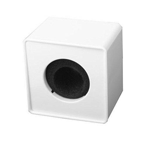 Tinksky vierkante kubus in de vorm van een interview, microfoon, logo-vlag, station, wit