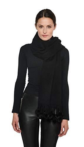 Cashmere shawl,scarf,scarves,wrap w/Mink Pom-pom balls - Cashmere Pashmina Group (Black)