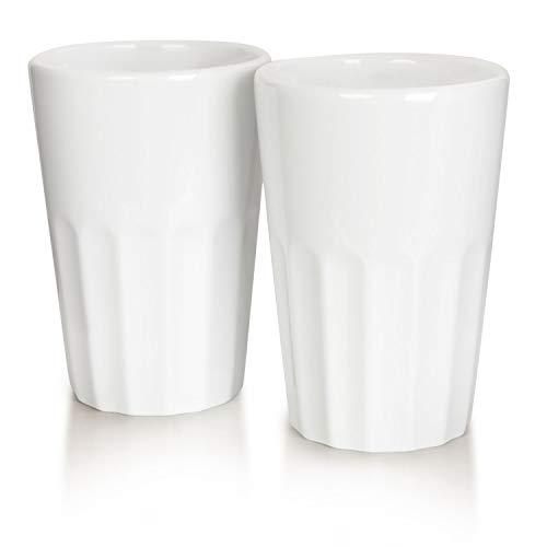 Mahlwerck Porzellan Latte Macchiato oder Cappuccino Becher, Kaffee-Tasse French Style, weiß, 400 ml, 2er Set
