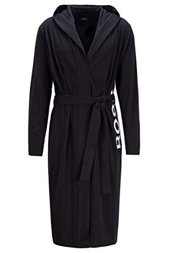 BOSS Herren Identity Hooded Gown Bademantel, Black1, L EU