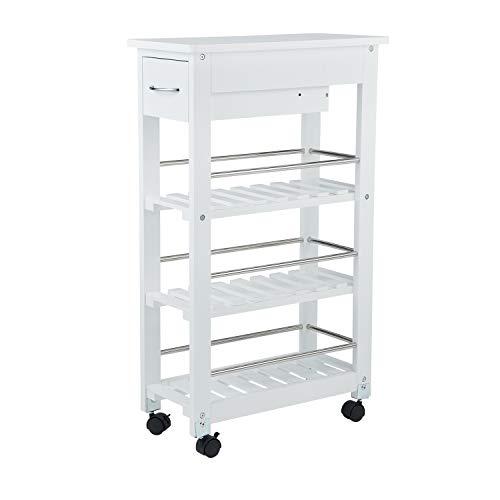 real,- QUALITY Nischenregal | weiß | Holz | Bambus | Maße ca. 25 x 85,8 x 52 cm | Schublade und 3 Regalböden | Kunststoffräder mit Bremse | Küchenregal | Rollregal | Nischenschrank