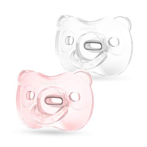 Medela Baby Soft Silicone Schnuller, 0-6 Monate, DUO, hellrosa & transparent, 2 Stück