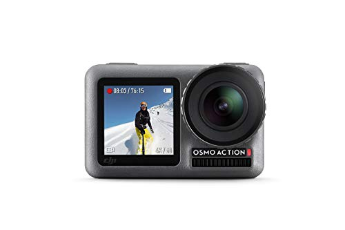 DJI Osmo Action Cam, Camera Digitale con Doppio Display, Fino a 11 m, Resistente all'Acqua, Foto e Video in 4K HDR, 12MP, 145° Camera Angolare, Nero