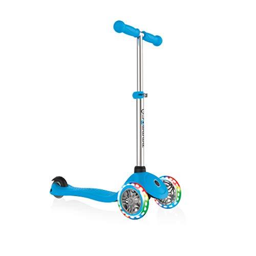 Globber Primo infantil con luz Up Ruedas Scooter, Infantil, Primo with Light Up Wheels, azul celeste, n/a
