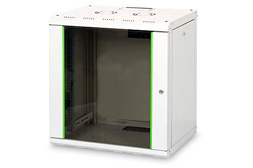 DIGITUS Netzwerk-Schrank 19 zoll 12 HE - Wandmontage - 450 mm Tiefe - Traglast 100 kg - Unique Serie - Glastür - Grau